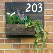 etsy TheHonestAsparagus House Number Plant Holder